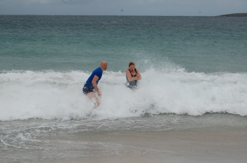 Han and Marek take an impressively chilly dip on the gentoo's beach