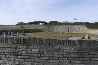 The British cemetary at San Carlos. The list of British ships attacked brings home the reality of the conflict