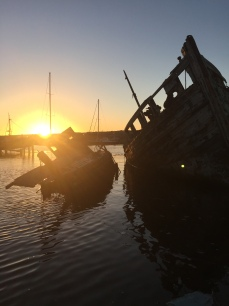 Clambering on the shipwrecks in the Canache