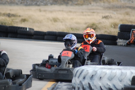 Sean and Claudia looking pro in their own racing helments