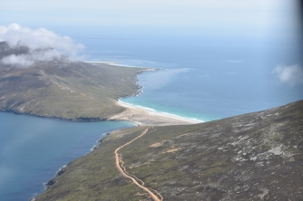 The Neck on Saunders Island as we flew past